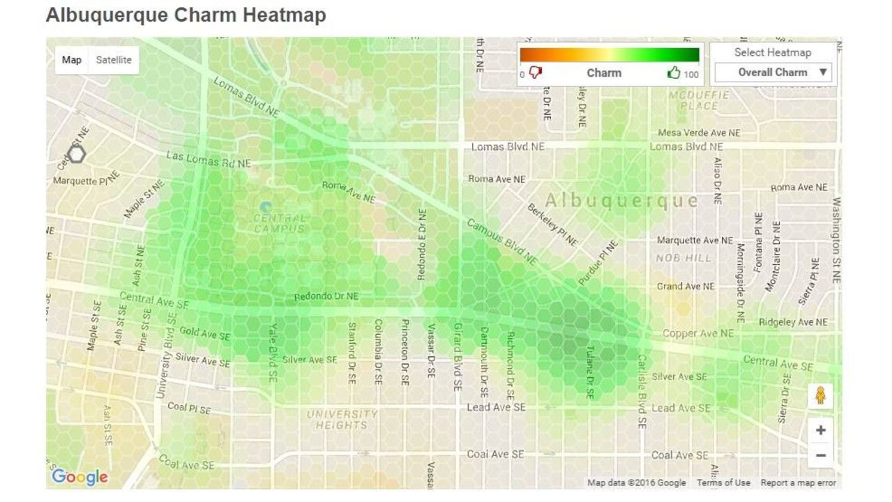 Heat map ranks overall \'charm\' of Albuquerque neighborhoods