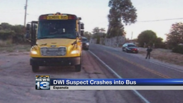 Woman accused of fleeing after crashing into Espanola school bus