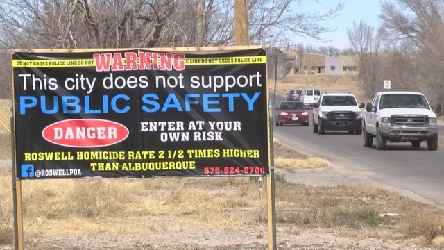 Police union posts sign in Roswell: 'Danger: Enter at your own risk'
