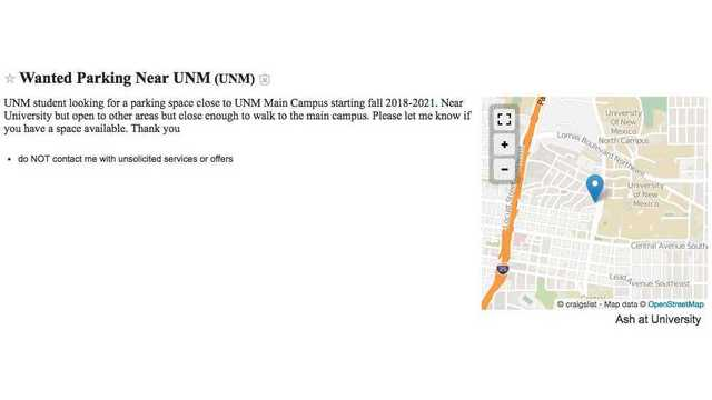 UNM student posts on Craigslist trying to find \'affordable\' parking